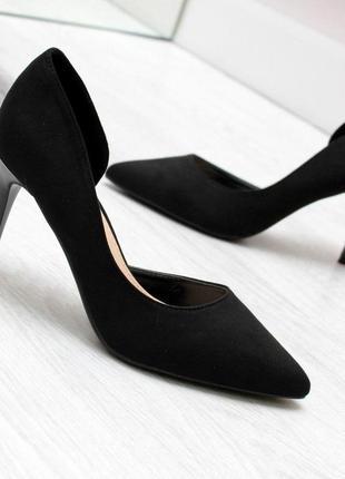 Классические замшевые женские туфли лодочки на шпильке   код 6990