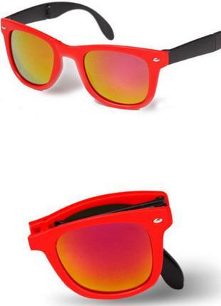 Распродажа солнцезащитные черно-красные складные очки-вайфареры с оранжевым зеркалом