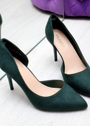Классические замшевые женские туфли лодочки на шпильке   код 6992