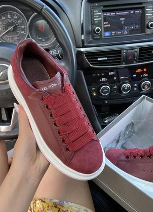 Женские кроссовки alexander mcqueen dark red