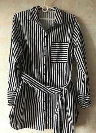 Удлиненная рубашка в полоску от reserved 40 размера