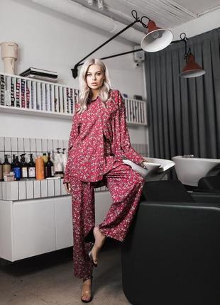 Скидка брючный костюм в пижамном стиле из штапеля