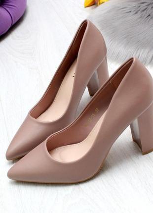 Классические женские туфли на высоком устойчивом каблуке  код 6994