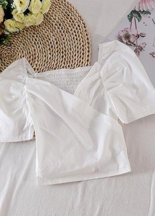 Вишуканий жіночий хлопковий топ з об'ємними рукавами колір білий