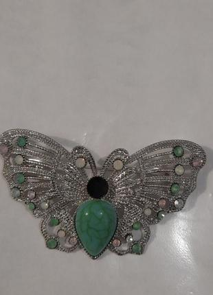 Стильная брошь  бабочка современная бижутерия