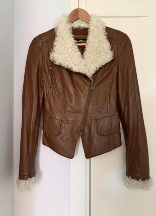 Куртка-косуха с мехом р.xs-s натуральная кожа демисезонная