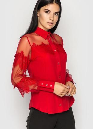 Однотонная офисная блуза (красная)
