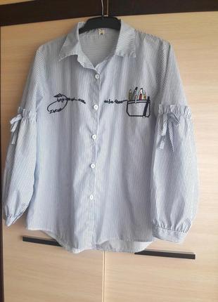Коттонова сорочка в полоску