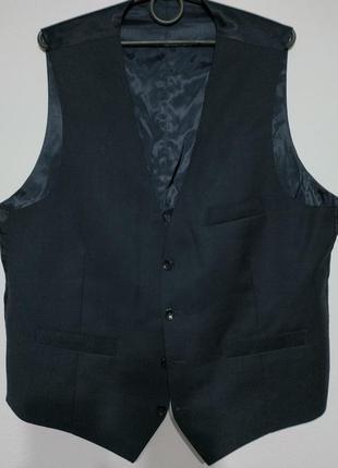 L 50 сост нов blazer 100% шерсть жилет костюмный жилетка безрукавка синий синяя zxc