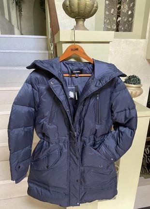 Женский брендовый теплый зимний пуховик парка {90%пух} diesel; супер оверсайз ; оригинал