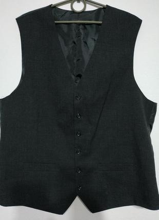 L xl 50 52 сост нов шерсть жилет костюмный мужской чёрный жилетка безрукавка zxc