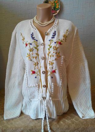 Эксклюзивный винтажный 100% хлопковый  кардиган кофта с вышивкой  эксклюзив винтаж