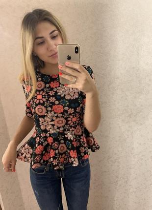 Нарядная блуза с баской в цветы 💐❤️