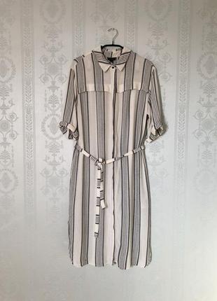 Платье рубашка topshop на пуговицах в полоску с поясом!