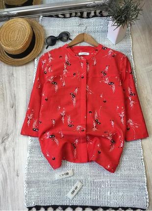 Хлопковая цветочная блуза с шелком
