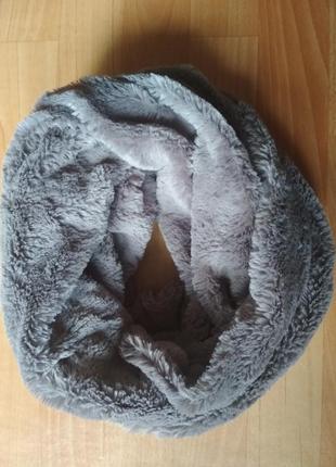 Меховой плюшевый шарф снуд new look