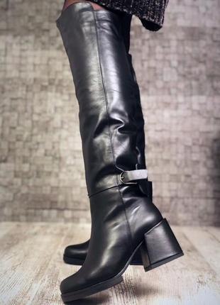 Высокие кожаные ботфорты,сапоги,зима,дэми, размер 39.