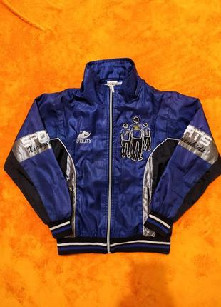 Очень классная спортивная куртка олимпийка синего цвета на мальчика 9-11 лет