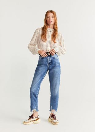 Мам джинсы mango момы драные джинсы с высокой талией свободные бойфренды