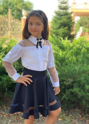 Школьная блузка белая размер 128