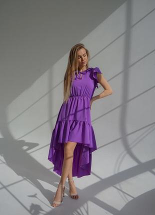Стильное платье миди фиолетовое