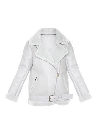 Тёплая серая дубленка куртка авиатор оверсайз6 фото