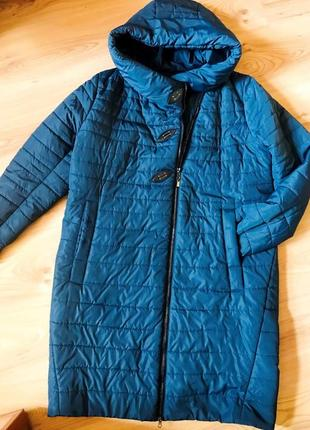 Бирюзовое демисезонное стеганое пальто большого размера, пр-во украина