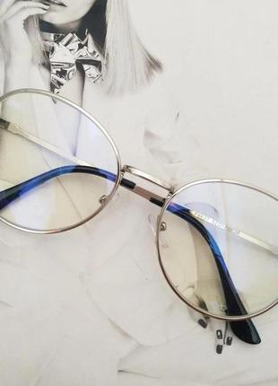 Компьютерные очки в металлической оправе серебро