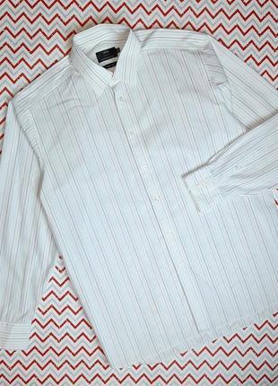 😉1+1=3 белая рубашка сорочка с длинным рукавом в полоску marks&spencer, размер 50 - 52
