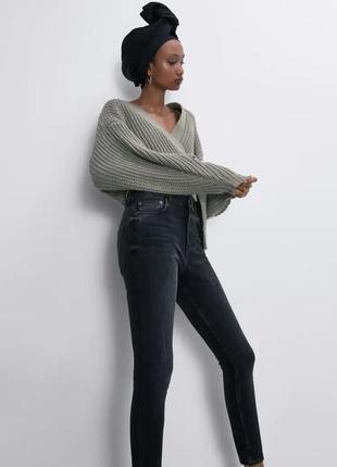 Серые джинсы с высокой посадкой размер м-л 30 zara