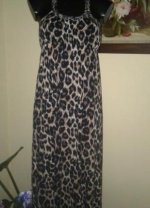Летнее платье -сарафан с леопардовым принтом