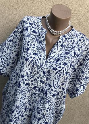 Лён-хлопок,блуза реглан,рубаха,большой размер,батал,этно бохо стиль