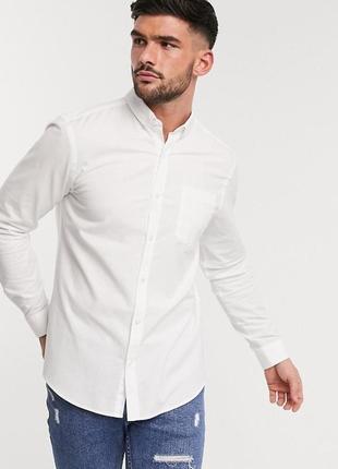 😉1+1=3 фирменная белая рубашка сорочка с длинным рукавом greenwood, размер 52 - 54