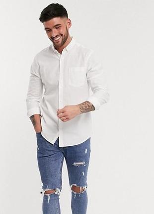 😉1+1=3 базовая мужская белая рубашка сорочка с длинным рукавом, размер 54 - 56