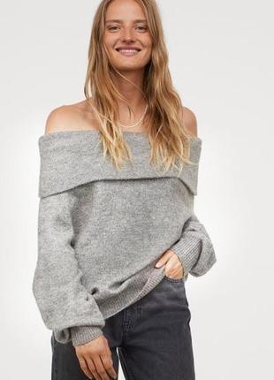 Базовий сірий жіночий светр на плечі з хомутом h&m