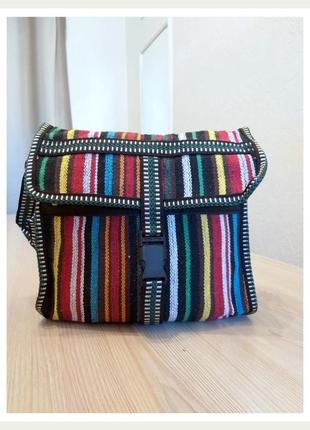 Тканевая сумка через плечо полоска цветная