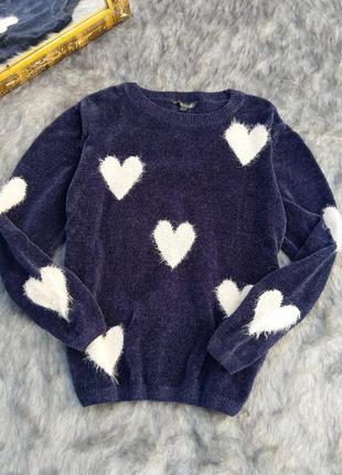 Плюшевый свитер джемпер в пушистые сердечки bonmarché