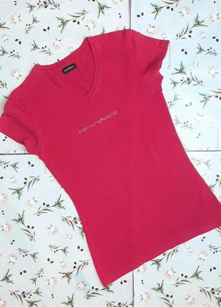 🌿1+1=3 розовая женская приталенная футболка со стразами emporio armani, размер 42 - 44