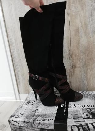 Замшевые ботфорты на высоком каблуке luciano carvari