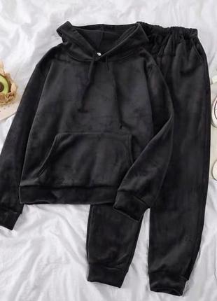 Бархатный плюшевый костюм худи