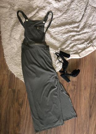 Платье-комбинезон цвета хаки