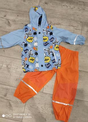 Комплект дождевик грязепруф на флисе куртка штаны 122/128