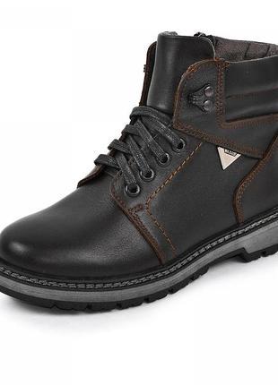 Кожаные ботинки для мальчика maxus 1102198 коричневая кожа