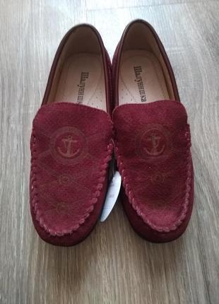 Шикарные бордовые туфли мокасины натуральная замша