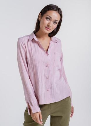 Женская льняная рубашка с сердечком на карманчике 42-48 р.