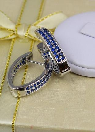 Серьги , родий с синими камнями