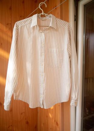 Персиковая рубашка свободного кроя в полоску