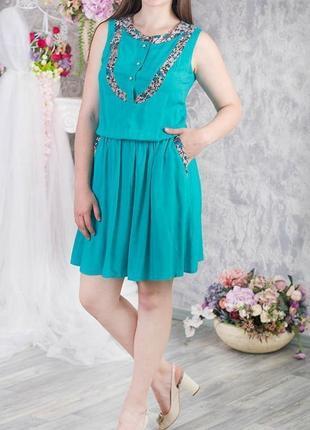 🌿1+1=3 фирменное бирюзовое нарядное платье до колена из хлопока zemal, размер 48 - 50
