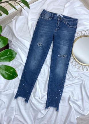 Узкие джинсы zara синие с бисером