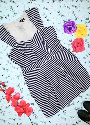 🌿1+1=3 короткое платье - футляр в полоску warehouse, размер 46 - 48